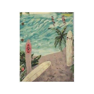 Surfers Kamehameha Vintage Print Men's Hawaiian Aloha Retro Style Shirt in Aquamarine - S by Paradise Found