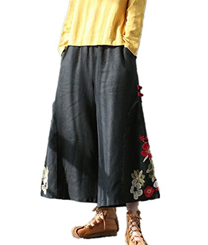 YESNO PM6 Women Casual Loose Cropped Pants Wide Leg Ethnic Handcrafted Embroidery Chinese Frogs/Pocket,Black,One Size
