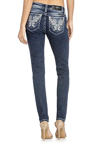 Miss Me Sequined Victorian Embroidered Dark Wash Hailey Mid-Rise Boot Cut Women's Jeans w/Extended Sizes M3248S (27) by Miss Me