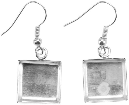 Amate Studios Base Elements Square Dangle Earring Bases, 1-Pair/Pkg, Silver Overlay, 12.7-Millimeter (Dangle Earring Bases)
