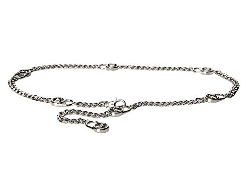 Michael Kors Mk Logo Hamilton Lock Silver Chain Belt