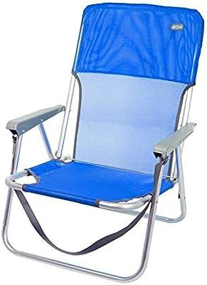 AKTIVE Silla de Playa Plegable, Fija Aluminio, con asa, Azul ...