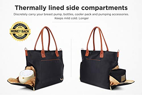 Breast Pump Bag for Work with Rich Tan Handles Staging Mat Sophisticated Design That Suits Workplace Thermally Lined Compartments Perfect Gift for New Moms (Solid Black) by flybold (Image #1)