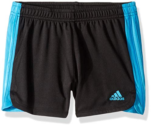 adidas Girls Big Athletic Shorts, Stripe Black/Aqua, M (10/12)