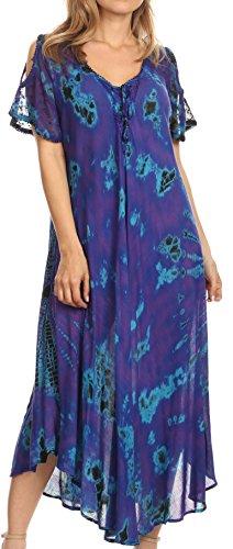 dye Long Caftan Sakkas Shoulder Dress Women Cold with Relax Ada on Purple Corset Maxi Tie wqYFAP