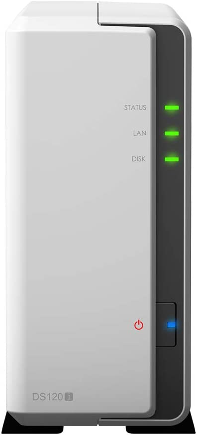 Installed with 1 x 10 TB Seagate IronWolf Drive Synology DS120j 10 TB 1 Bay NAS Solution