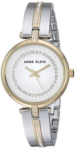 Anne Klein Women's AK/3249SVTT Swarovski Crystal Accented Two-Tone Bangle Watch