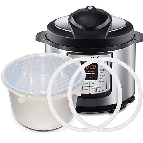 Silicone Sealing Ring Gaskets (2) + Silicone Inner Pot Lid Cover (1) Accessories Compatible with 8 Qt Instant Pot and Other Pressure Cookers