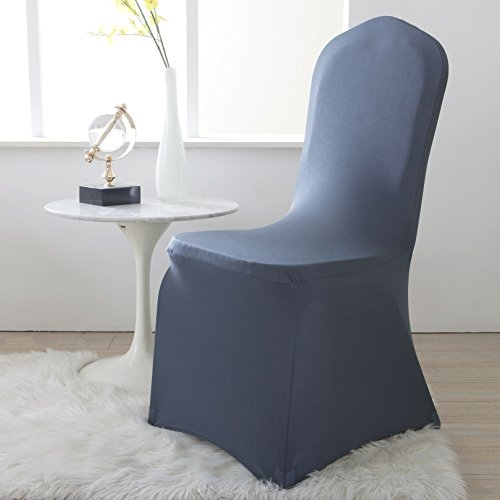 Lewing Set of 4pcs Dark Gray Spandex Chair Covers Slipcover for Banquet Wedding Party