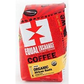 Equal Exchange Organic Coffee, African Roots, Whole Beans, 12 Ounces 4 Medium Roast FAIR TRADE.   KOSHER. SMALL FARMER GROWN
