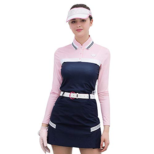 SVG Sunviewgolf Women's Color Block Contrast Long Sleeve Jersey Golf Polo Shirts (L,Pink)