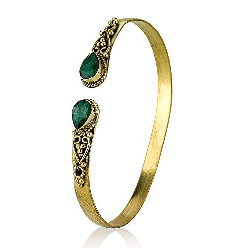 Created Emerald Brass Adjustable Bangle Bracelet
