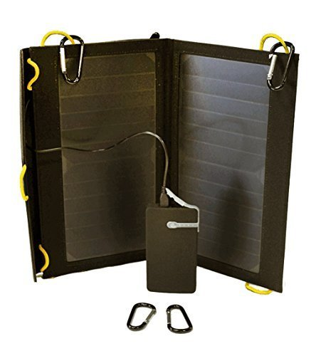 Solar-Go Flair II, mobile 13 watt POWERFUL SunPower solar panel with 5k mAh thin Li-Polymer battery, totally mobile, with carabineers by SolarGoPack by SolarGoPack