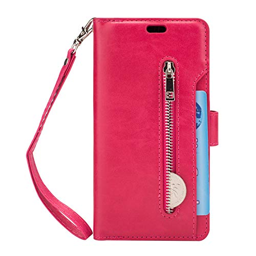 Galaxy S9 Plus Case Wallet for Women, Galaxy S9 Plus Zipper Case Wallet with Card Holder Waterproof PU Leather Magnetic Case with Hand Strap Flip Case Cover for Samsung Galaxy S9 Plus - Hot Pink