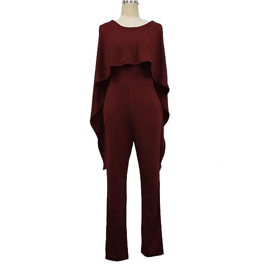 Pantalones de chándal Mujeres Color sólido Bodyocn Ruffles Cape ...