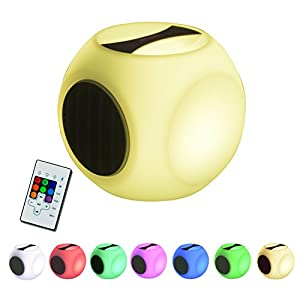Cube Portable Color Changing Speaker, RGB Bluetooth Speaker with light, LED Light up Speaker, Wireless Bluetooth Speaker, Bedside Lamp Night Light for Outdoor Indoor Party iPhone Remote Control