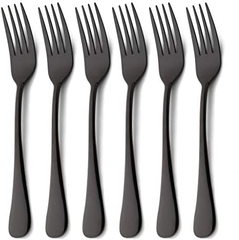 Lot de 6 table forks noir et blanc finition mate Heavy Duty couverts de salle à manger