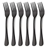 6 Piece Dinner Fork Set Black Stainless Steel Table Salad Dessert Forks Silverware Flatware Set Service for 6 Mirror Finish Dishwasher Safe 7.2 Inches