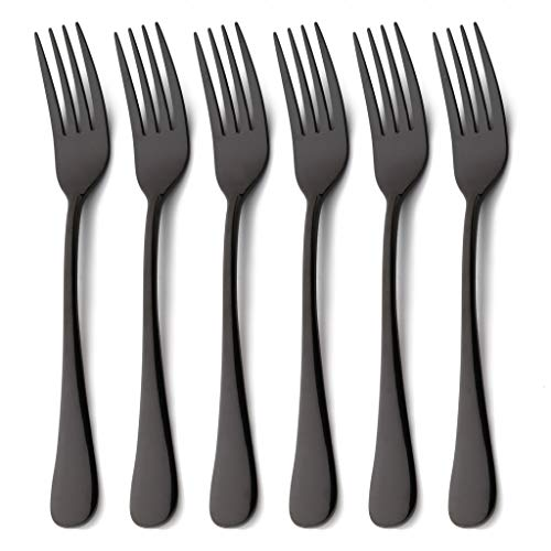 6 Piece Dinner Fork Set Black Stainless Steel Table Salad Dessert Forks Silverware Flatware Set for 6 Mirror Finish Dishwasher Safe 7.2 Inches