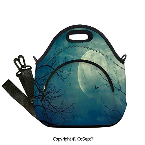 Portable lunch bag,Halloween with Full Moon in Sky and Dead Tree Branches Evil Haunted Forest,with Detachable Adjustable Shoulder Strap(12.59x6.29x12.59 inch) Blue]()