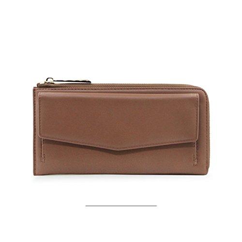 Lady holding brieftasche,Multifunktionale lange brieftasche Studentischen geldbeutel-Rot braun