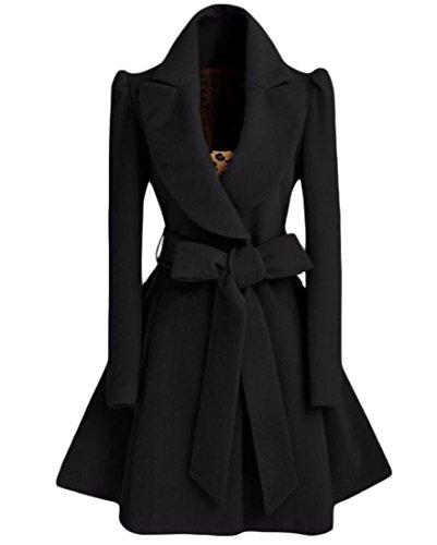 Zimaes-Women Custom Fit Fold-Collar Belted Woolen Long Trench Coat Black XS by Zimaes-Women