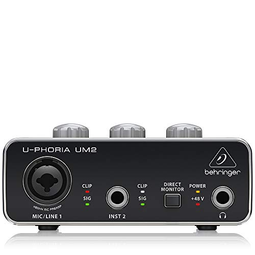 BEHRINGER Audio Interface, 1x XLR/TRS 1x 1/4' 2X RCA USB, Black, 1-Channel (UM2)