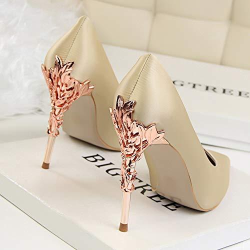 39 Shoes Goddess heels Early Princess Yukun Heels Fresh Wild Women'S Shoes Autumn High High Small Yellow Champagne Dress Stiletto Women'S Pointed Single 7vwwH