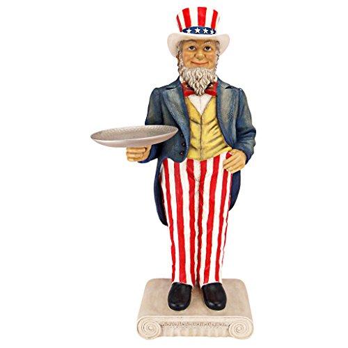 Design Toscano EU9341 Uncle Sam Yankee Doodle Dandy Butler Pedestal Sculptural Table, Full Color
