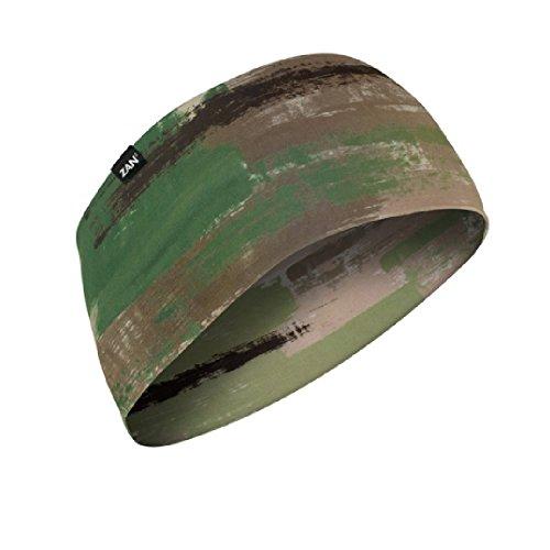 Sport Flex Width of band is 4 inches. Army Green Brown Tan Brushed Camo Camouflage 87% Polyester 13% Elastane Headband Head Wrap Biker Bandanna Biker Sports