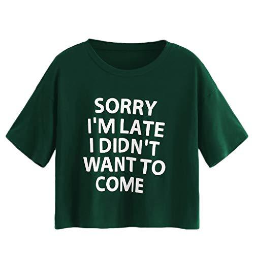 HIRIRI Women Shirts Short Sleeve Letter Print Loose Tank Crop Top Girls T-Shirts O-Neck Soft Vest Green