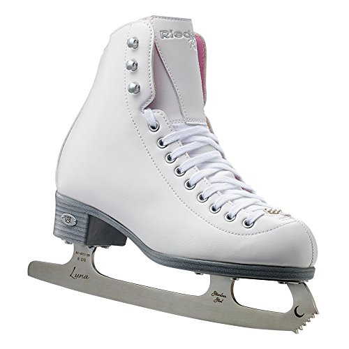 Riedell Skates - 114 Pearl - Women's Recreational Ice Figure Skates with Steel Luna Blade | White | Size 7