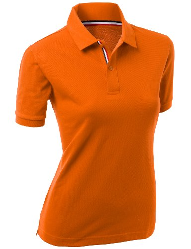 Women Daily Casual Wear 20x20 Cotton 2 tone Collar T shirt ORANGE Size (Two Tone Collar)