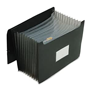 Pendaflex 82013 Poly Jumbo Expanding File with Elastic Cord, 13 Tabbed Pockets, Letter, Black