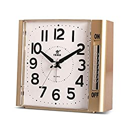 POWER Alarm Clock,Analog Clock, No Ticking Analog Clock,Simple to Set Clocks,with Nightlight and Snooze,Ascending Sound Alarm,Battery Powered (Golden)
