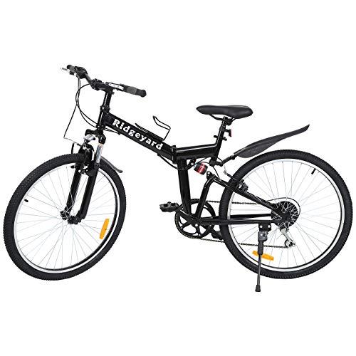 🥇 Ridgeyard 26″ 7 velocidades Plegable Bicicleta Folding Bike Bicicleta de montaña Shimano