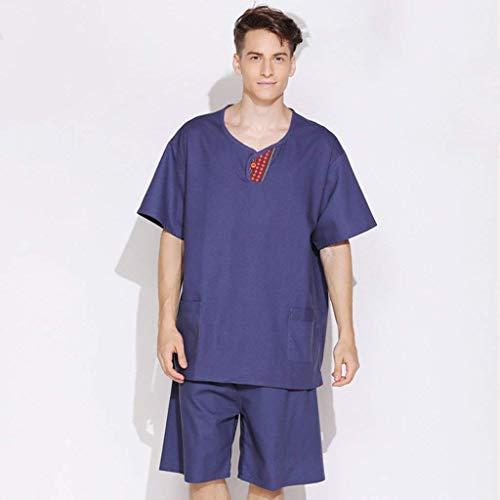 Pajamas con pigiama manica notte Modelli cotone e seta cotone coppia da Modelli tasche maschili medio Accappatoio di e da Completo Camicia in Accappatoio femminili Lino lino lunga EqrqI
