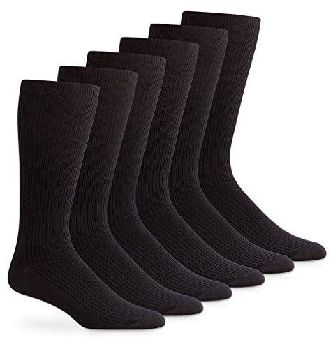 Jefferies Socks Mens Soft Microfiber Nylon Rib Crew Dress Socks 6 Pair Pack (Sock Size 10-13 - Shoe Size 9-12, Black)