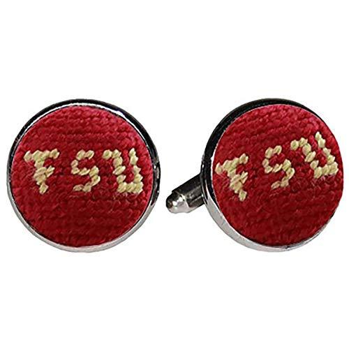 (Florida State University FSU Seminoles Needlepoint Cufflinks by Smathers & Branson)