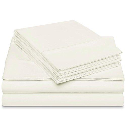 (Dream Castle Linens 600 Thread Count 100% Long Staple Soft Cotton Sheet Set with BONUS Pillowcases, 6 Piece Set,QUEEN SHEETS, Smooth Sateen Weave,16