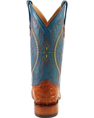Ferrini Mens Caiman Croc Sq Toe Stivali Reali Cognac