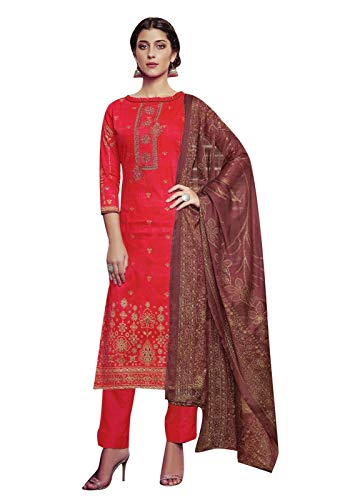 Ladyline Cotton Embroidered Salwar Kameez Ready to Wear Indian Womens Evening Dress (Size_36/ - Silk Churidar Suit