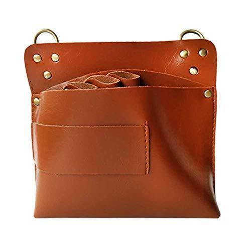 WANGXN Barber Holster Hair Scissor Bags PU Gran Capacidad Bolsa de Herramientas Profesional Bolsa de Cuero con cinturón