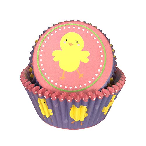 Easter Holiday Pink and Purple Baby Chick Print Baking Cup Cupcake Liners Party Supply Decoration - 50 Pack