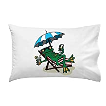 """""""Chillin Froggy"""" Funny Tree Frog Sitting w/ Phone & Drink - Pillow Case"""