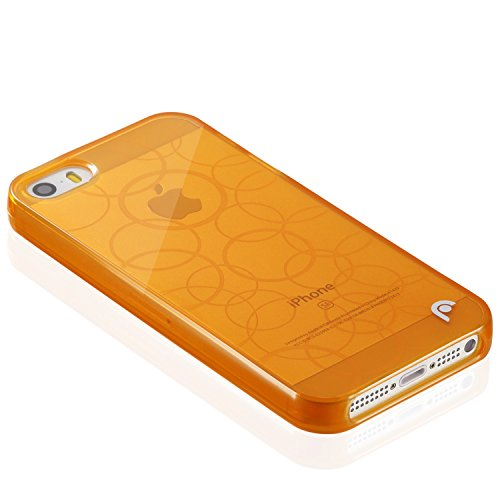 Fosmon DURA TPU Entwurf Case Cover hülle für iPhone 5 / 5s / SE - Multi-Circle - Orange