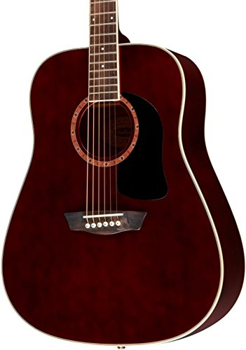 Washburn WD100DL Dreadnought Mahogany Acoustic Guitar Transparent Wine Red ()
