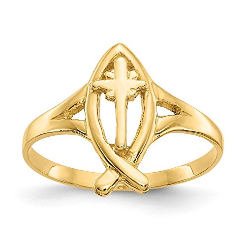 14k Yellow Gold Ichthus Cross Religious Band Ring Size 6.00 Fine Jewelry Gifts For Women For -