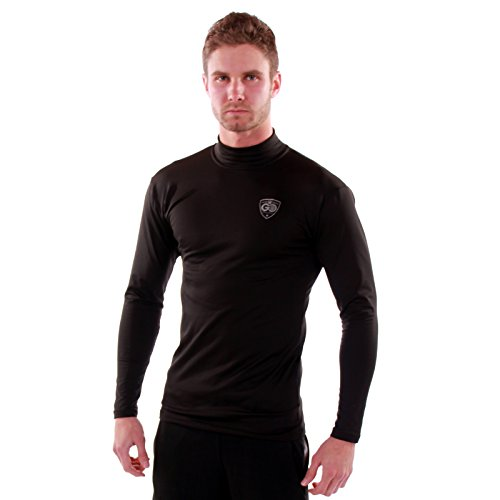 Go Athletic Apparel Men's Cold Weather Gear Base Layer Shirt Mock Neck-Black-Large