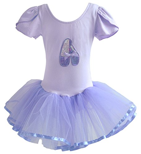Gymnastics Rhythmic Costumes (Dancina Leotard Tutu Skirt Dress Short Sleeve Modest Coverage Ballet Dance Class Costume 8 Purple)